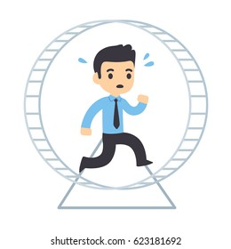 Cartoon businessman running in hamster wheel. Rat race concept and workplace anxiety vector illustration.