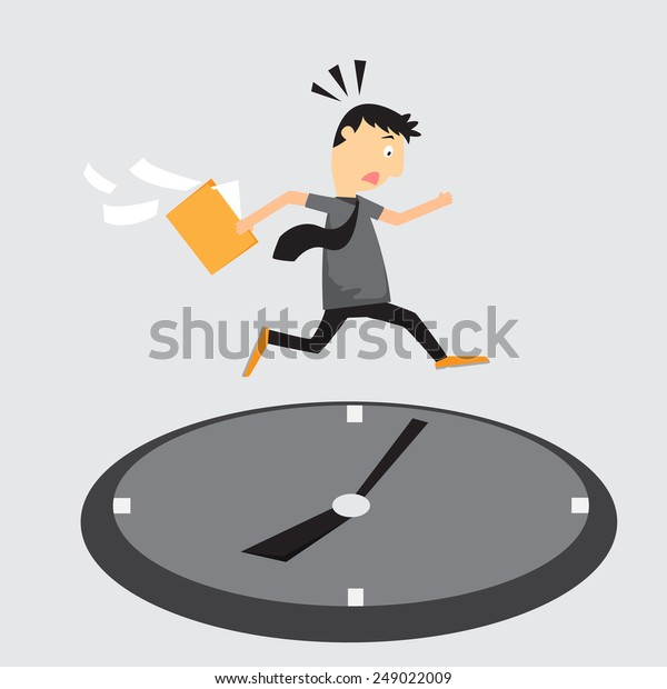Cartoon businessman running on clock, Jumps over time, Rush hour, vector illustration.