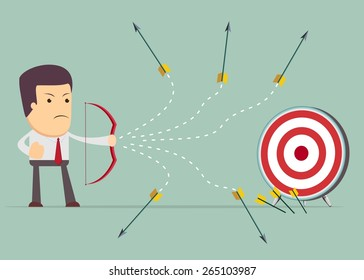Cartoon businessman shooting target with a bow and arrow, vector illustration.