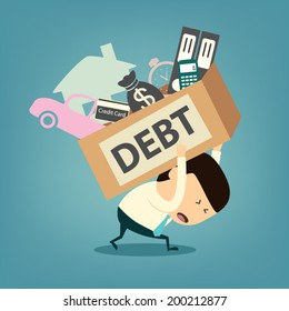 Cartoon businessman shoulder debt box