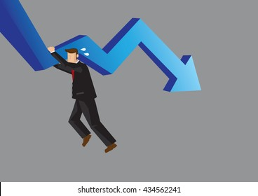 Cartoon businessman struggling and hanging on to declining arrow. Business illustration for struggling in under performing business concept isolated on grey background.