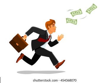 Cartoon businessman with suitcase or bag chasing or running for money banknotes or bill, greenback.