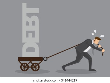 Cartoon businessman sweating and pulling a cart with text Debt on it. Creative vector illustration on financial obligation as heavy burden concept isolated on grey background.