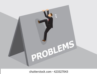 Cartoon businessman trying to climb over high wall with text Problems. Vector illustration on overcoming challenging problems and adversity in business concept isolated on plain background.