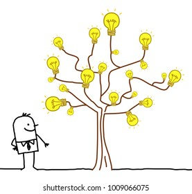 Cartoon Businessman Watching a Light Bulb Tree