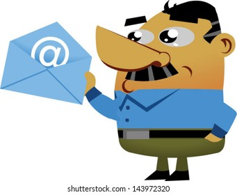 Cartoon businessmen about to mail an email - Vector clip art illustration on white