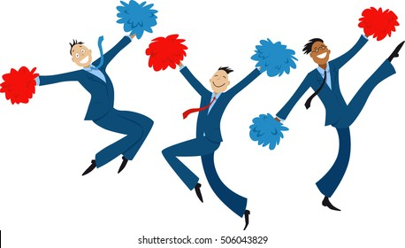 Cartoon businessmen doing cheer-leading routine as a metaphor for team motivation, EPS 8 vector illustration