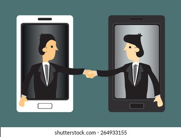 Cartoon businessmen extending hands out of handphone screen for handshake. Concept vector illustration for using new technology in business world.