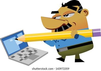 Cartoon businessmen filling a computer form online - Vector clip art illustration on white