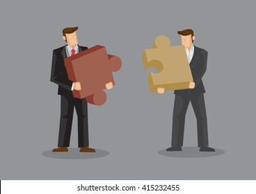 Cartoon businessmen holding large pieces of jigsaw puzzle. Creative vector illustration on business fit concept isolated on grey background.