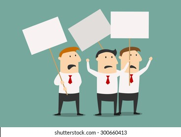 Cartoon businessmen at the meeting with posters for strike concept design, flat style