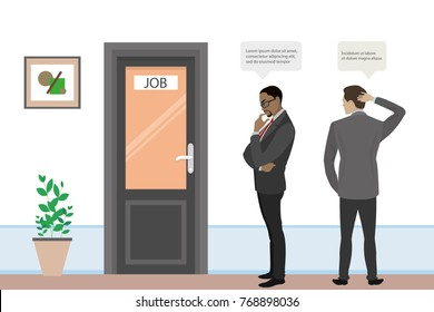 Cartoon businessmen or office workers are searching for job, interview of two candidates,door in office room,flat vector illustration