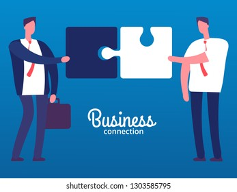CARTOON BUSINESSMEN WITH PUZZLES. Business cooperation vector concept