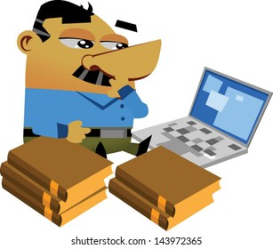 Cartoon businessmen sitting on the ground with a computer and some books - Vector clip art illustration on white