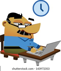 Cartoon businessmen typing on a computer - Vector clip art illustration on white