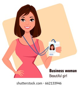 Cartoon businesswoman. Beautiful brunette lady in fashionable dress showing badge. Close up. Vector illustration. EPS10