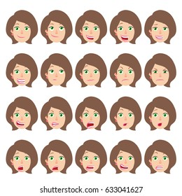 Cartoon Businesswoman Character. Different facial expressions. Emotional set for rigging and animation. Vector illustration in a flat style.