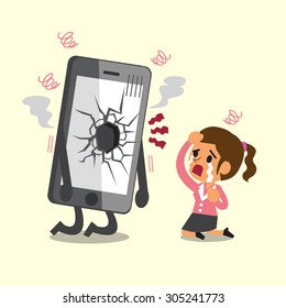 Cartoon businesswoman cry with broken screen smartphone