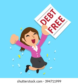 Cartoon businesswoman with debt free letter