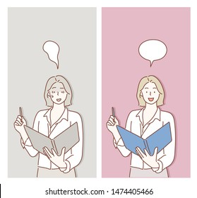 Cartoon businesswoman expressing different emotions. Hand drawn style vector design illustrations.