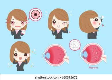 cartoon businesswoman with eye problem on green background