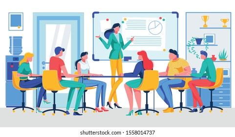 Cartoon Businesswoman Hold Meeting Vector Illustration. People Workers Sitting at Table in Office Room. Teamwork, Brainstorming, Cooperation. Statistics Discussion, Report Analysis