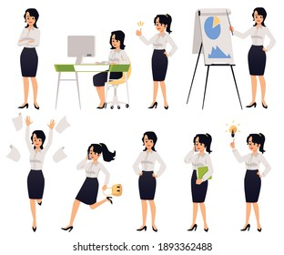 Cartoon businesswoman set - female office character in work situations. Woman in business clothes working a corporate job, vector illustration collection