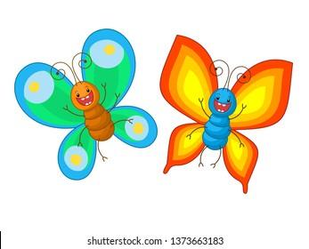 Cartoon butterflies on a white background.
