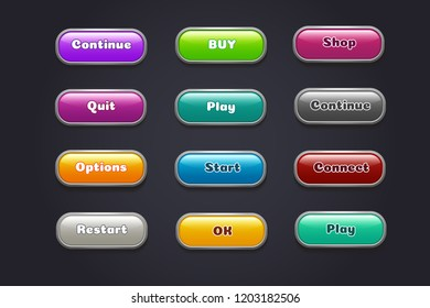 Cartoon buttons. Colorful video game ui elements. Restart and continue, start and play button set. Illustration of game web, gui button for menu