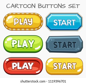 Cartoon buttons set game.Vector illustration