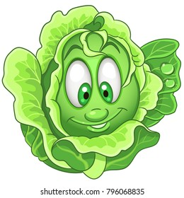 Cartoon Cabbage character. Iceberg Lettuce. Happy Vegetable symbol. Eco Food icon. Emoji expression. Design element for kids coloring book, colouring page, t-shirt print, logo, label, patch, sticker.