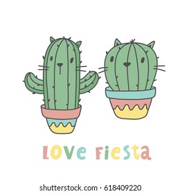 Cartoon cactus cat. Cool print love fiesta