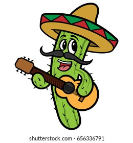 Cartoon Cactus Playing Guitar Vector Illustration