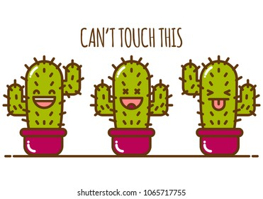 Cartoon cactus in a pot. Vector illustration isolated on white