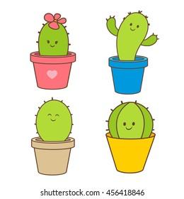 Cartoon cactus in a pot. vector illustration, doodle, set