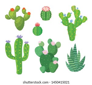 Cartoon cactus set. Vector set of bright cacti and aloe. Colored, bright cacti flowers isolated on white  background.