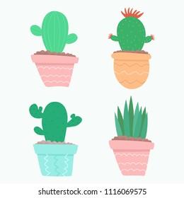 Cartoon cactuses. vector illustration.