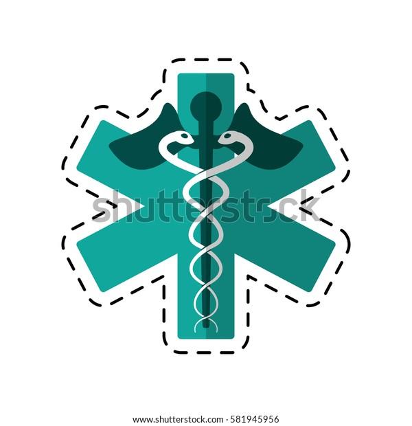 cartoon caduceus medicine care symbol