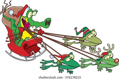 cartoon cajun alligator Santa