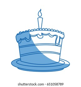 cartoon cake candle sweet food party icon
