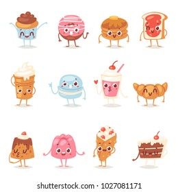 Cartoon cake character vector chocolate sweets confectionery cupcake emotion and sweet confection dessert with caked candies illustration confected donut in bakery set isolated on white background
