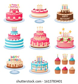 Cartoon cakes. Colorful delicious desserts, birthday cake with celebration candles and chocolate slices, holiday party decoration cupcakes vector set