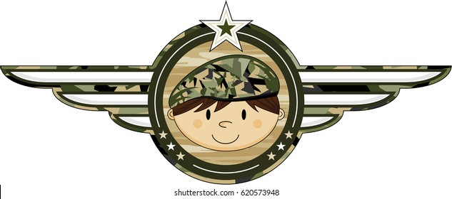Cartoon Camouflaged Army Soldier