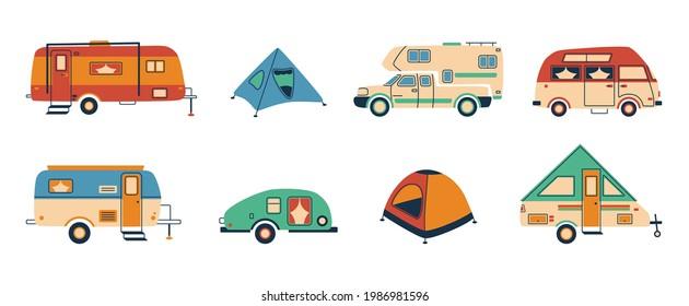 Cartoon camper. Doodle tent and caravan vehicle, camper van for recreational holiday, hand drawn trailer. Vector adventure vacation concept - Shutterstock ID 1986981596