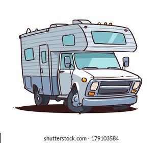 cartoon camping truck