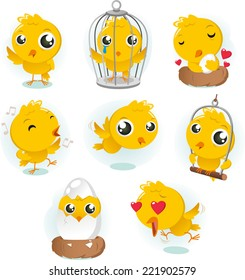 Cartoon Canary bird action set collection bird vector illustration.