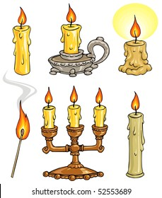 Cartoon Candles and Candelabrum Illustrations -Clip Art