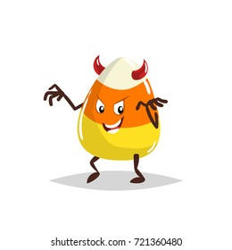 Cartoon candy corn devil costumed character. Halloween humanized sweet symbol for party poster and decoration.