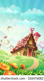 Cartoon candy house on the meadow - vector illustration game user interface in mobile format