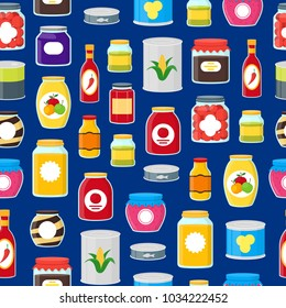 Cartoon Canned, Preserve and Jar Food Seamless Pattern Background on a Blue Conserve Concept Flat Design Style . Vector illustration of Can Nutrition
